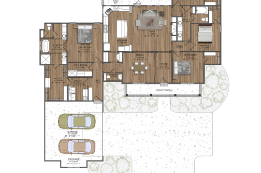 2D Floor House Plan with a Front Yard