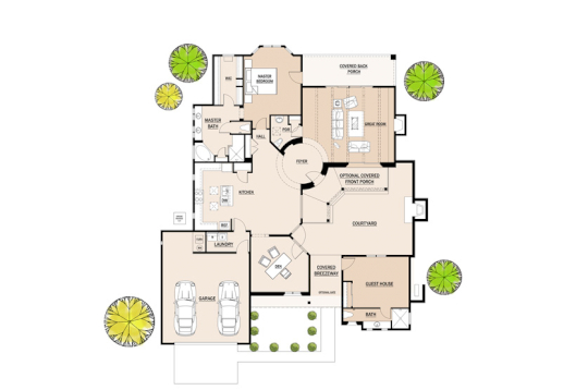 2D Floor Plan with Covered Back Porch